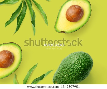 Creative layout made of avocado. Flat lay. Food concept. Macro concept. Green background. #1349507951