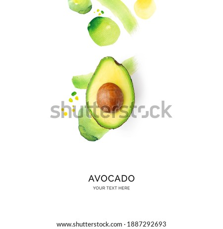 Creative layout made of avocado on the watercolor background. Flat lay. Food concept.