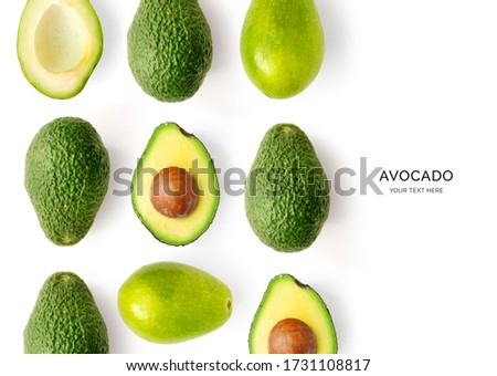 Creative layout made of avocado on the white background.Flat lay. Food concept. Foto stock ©