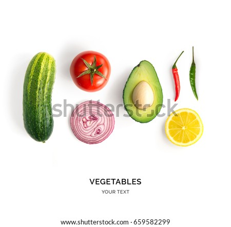 Creative layout made of avocado, onion, tomatoes, pepper and lemon. Flat lay. Food concept. Vegetables isolated on white background. #659582299