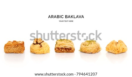 Creative layout made of baklava on white background. Flat lay. Food concept. Macro  concept.