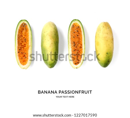 Creative layout made of banana passionfruit on the white background. Flat lay. Food concept. Banana passionfruit on the white background.