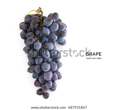 Creative layout made of blue grape. Flat lay. Food concept. #687931867