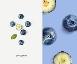 Creative layout made of blueberry. Flat lay. Food concept. Macro concept.