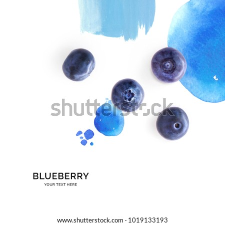 Creative layout made of blueberry on the watercolor background. Flat lay. Food concept. #1019133193