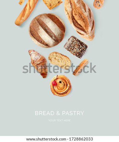 Creative layout made of bread and pastry, croissant, baguette, cake, rye bread. Flat lay. Food concept.