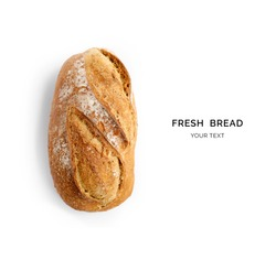 Creative layout made of bread on the white background. Flat lay. Food concept.
