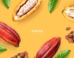 Creative layout made of cacao beans and  cacao fruit on the yellow background. Flat lay. Food concept. Macro  concept.