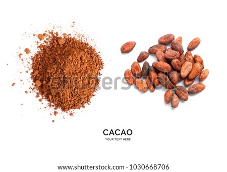 Creative layout made of cacao powder and cacao beans on the white background. Flat lay. Food concept. Macro  concept.
