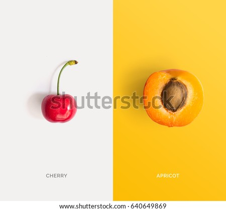 Creative layout made of cherry and apricot. Flat lay. Food concept.