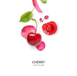 Creative layout made of cherry on the watercolor background. Flat lay. Food concept.
