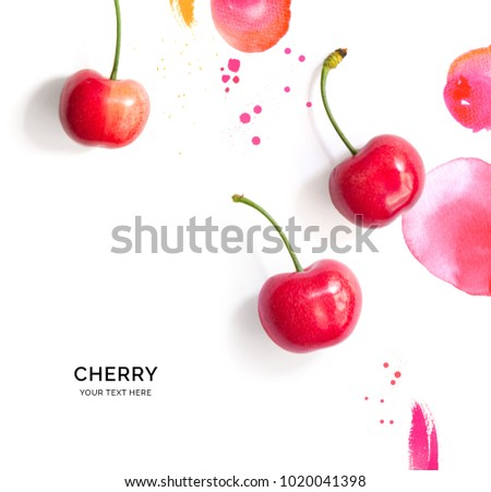 Creative layout made of cherry on the watercolor background.. Flat lay. Food concept