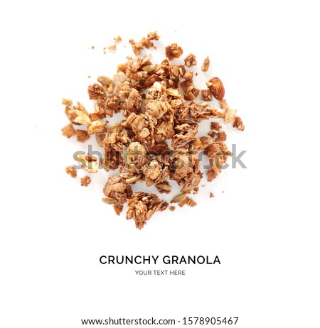 Creative layout made of chocolate granola isolated on white background. Flat lay. Food concept. Stock photo ©