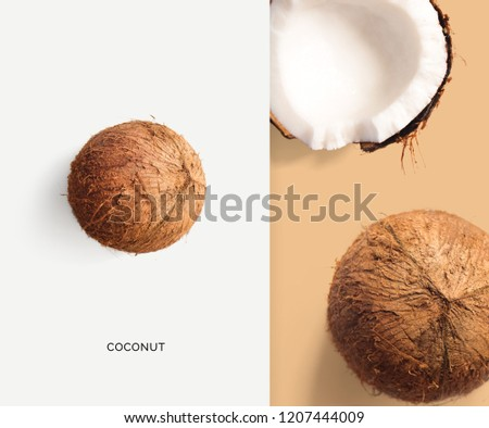 Creative layout made of coconut. Flat lay. Food concept. Macro  concept.