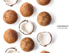Creative layout made of coconut  on white background. Flat lay. Food concept.