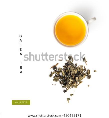 Creative layout made of cup of green tea on a white background. Top view #650635171
