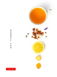 Creative layout made of cup of herbal tea, lemon, ginger on a white background. Top view
