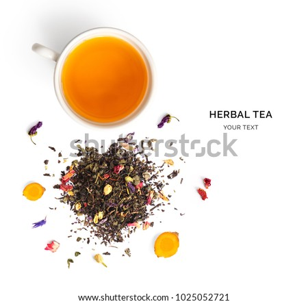 Creative layout made of cup of herbal tea on a white background. Top view.
