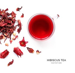 Creative layout made of cup of hibiscus tea  on a white background. Top view.