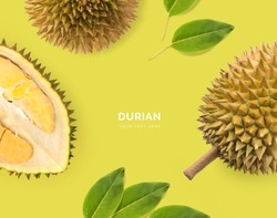 Creative layout made of Durian. Flat lay. Food concept. Durian on the green background