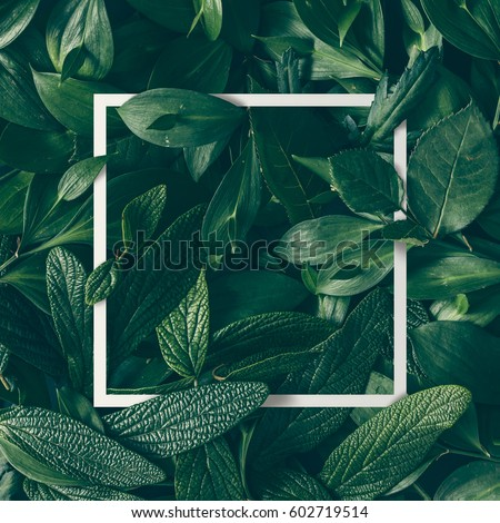 Creative layout made of flowers and leaves with paper card note. Flat lay. Nature concept