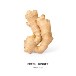 Creative layout made of ginger on white background. Flat lay. Food concept.