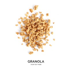 Creative layout made of granola isolated on white background.Flat lay. Food concept.