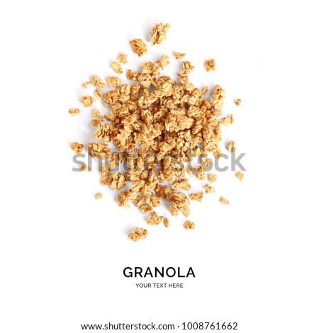 Creative layout made of granola isolated on white background.Flat lay. Food concept. #1008761662