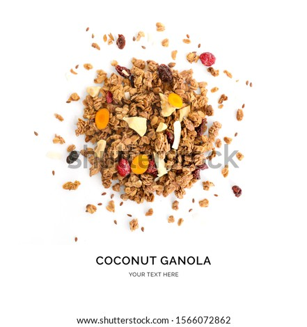 Creative layout made of granola with dry fruits and curcuma isolated on white background.Flat lay. Food concept. Stock photo ©