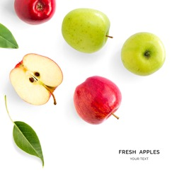 Creative layout made of green and red apples. Flat lay. Food concept. Apples on the white background.