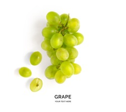 Creative layout made of green grape.  Flat lay. Food concept.