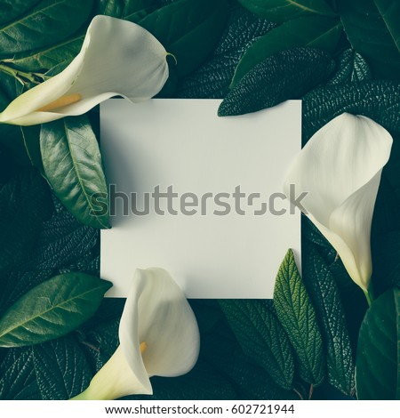 Creative layout made of green leaves and white flowers with paper card note. Flat lay. Nature concept
