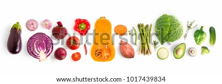 Creative layout made of green peas, cabbage, sweet potato, avocado, tomato, onion, beetroot, pepper, aubergine, artichoke, broccoli and cucumber on the white background.. Flat lay. Food concept.  #1017439834