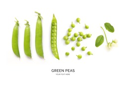 Creative layout made of green peas the white background. Flat lay. Macro concept.