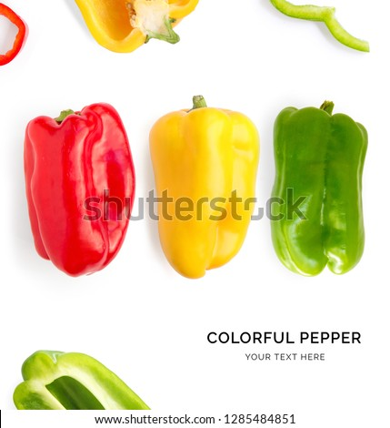 Creative layout made of green, red and yellow pepper. Flat lay. Food concept. Colorful pepper on white background. #1285484851