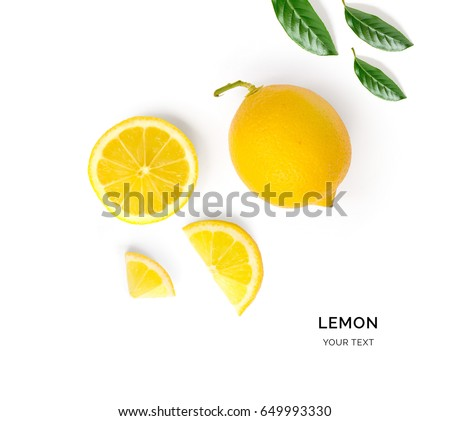 Shutterstock Creative layout made of lemon and leaves. Flat lay. Food concept. Lemon on white background.