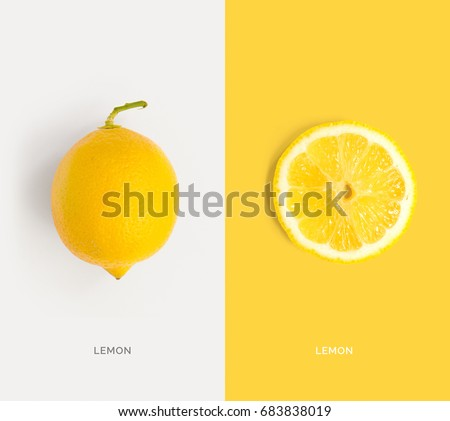 Creative layout made of lemon. Flat lay. Food concept. #683838019