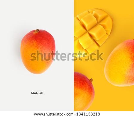Creative layout made of mango. Flat lay. Food concept. Macro concept. #1341138218