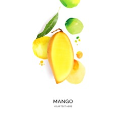 Creative layout made of mango with watercolor spots on the white background. Flat lay. Food concept.