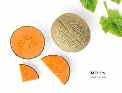 Creative layout made of melon. Flat lay. Food concept. Melon on white background.