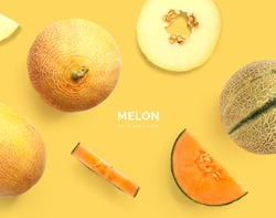 Creative layout made of melon. Flat lay. Food concept. melon on yellow background.