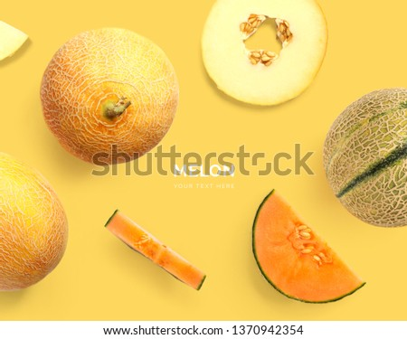 Creative layout made of melon. Flat lay. Food concept. Watermelon on yellow background. #1370942354