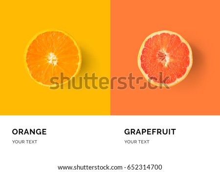 Creative layout made of orange and grapefruit. Flat lay. Food concept.