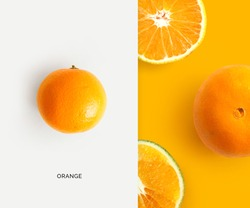 Creative layout made of orange. Flat lay. Food concept. Macro concept.