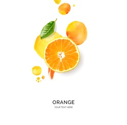 Creative layout made of orange with watercolor spots on the white background. Flat lay. Food concept.