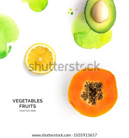 Creative layout made of papaya, avocado and lemon. Flat lay. Food concept. #1035913657