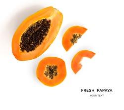 Creative layout made of papaya fruit.  Flat lay. Food concept.
