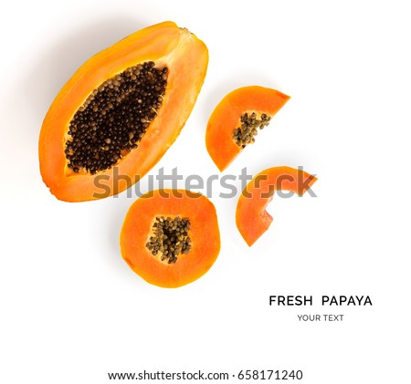 Creative layout made of papaya fruit.  Flat lay. Food concept. Stockfoto ©