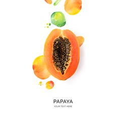 Creative layout made of papaya with watercolor spots on the white background. Flat lay. Food concept.