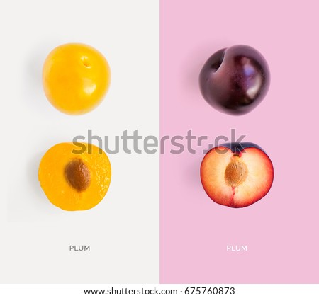 Creative layout made of plum. Flat lay. Food concept.